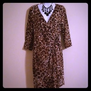 NY Collection Animal print wrap dress. Size Medium